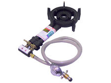 2 Ring LPG Gas Burner Cast Iron Cooker with Hose + Regulator BBQ Camping Stove