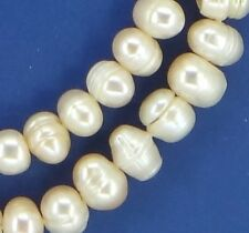 "16"" PEACH Freshwater Pearl FWP Potato Button with Rings ~60 Beads 8-9mm P500"