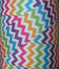 "5 Yards 1.5"" MULTI COLORED BRIGHT ZIG ZAG CHEVRON GROSGRAIN RIBBON 1 1/2"""