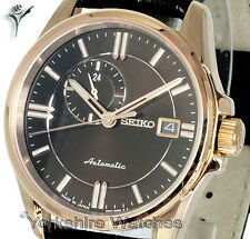 SEIKO PRESAGE SAPPHIRE ROSE GOLD AUTO BLACK FACE & LEATHER BUCKLE STRAP SSA134J1