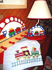 Lot of 3 BOYS Kids TRAIN THEME Room DECOR Set/Table Lamp, Valance & Wood Hanger