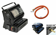 NEW 2in1  Portable Gas Heater and Cooker Camping Caravan Outdoor+Gas Hose Butane