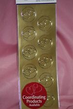60pc Metallic Gold Roses Wilton Wedding Envelope Seals 827