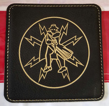 "CIA Covert Communication Group 4"" Black Leather Coasters Set of 4"