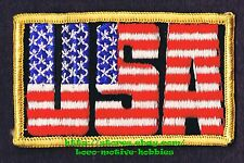 LMH PATCH Badge USA United States  AMERICAN Flag  IN LETTERS Red White Blue 3.5""