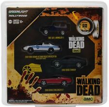 Greenlight 1/64 The Walking Dead Film Reel 4 Car Set Police / Sheriff Ford, Jeep