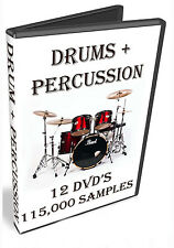 DRUM + PERCUSSION MUSIC SAMPLES  - WAV FILES  - 115,000 SAMPLES -  44gb OF DRUMS