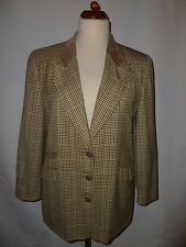 KILKENNY PURE WOOL TWEED  JACKET WITH SUEDE TRIM  SIZE  UK 14 MADE IN IRELAND