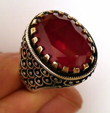 Turkish 925 S. Silver Ruby (lab) Stone Men's Ring Sz 11.5 us #0271 free resize