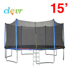New Clevr 15' Trampoline Bounce Jump Safety Enclosure Net Spring Pad Round 15ft