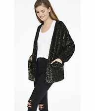 EXPRESS XS BLACK FUZZY SEQUINED COATIGAN cardigan sweater coat jacket sequin