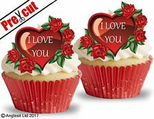 PRE-CUT I LOVE YOU HEARTS III. EDIBLE WAFER PAPER CUP CAKE TOPPERS DECORATIONS