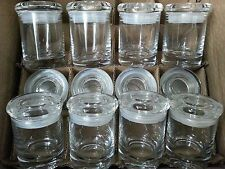 12 GLASS APOTHECARY JARS  MEDICAL HERB STASH CONTAINERS ODOR PROOF AIR TIGHT LID