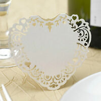 10 IVORY PLACE CARDS Free Standing Name Laser Cut VINTAGE ROMANCE Heart Wedding