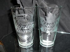2014 NHL SPECIAL EDITION WINTER CLASSIC TORONTO MAPLE LEAFS ETCHED PINT GLASSES