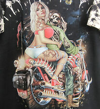 Rear Fender Studded Rivet Large Black Biker Tee Shirt, Motorcycle