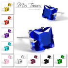 Men's Women's Stainless Steel Cubic Zirconia Crystal Square Stud Earrings Gift