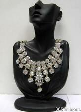 VINTAGE STYLE RHINESTONE CRYSTAL FLOWER BIB FRONT COLLAR SILVER GOLD NECKLACE