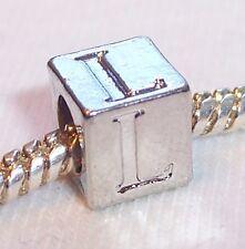 Alphabet Letter L Cube Square Initial Bead fits Silver European Charm Bracelets