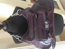 ladies,Autograph dark plum leather,zipped shoulder bag with swing tag
