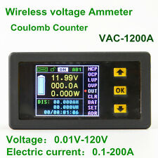 VAC1200A Color LCD voltage meter W/ table Coulomb Counter 0.01V-120V 0.01A-120A