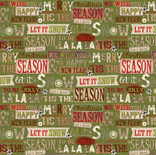 HOLIDAY STITCHES~SPX FABRIC~1.75 YDS~EOB~WORDS OF CHRISTMAS TIME~ON GREEN~24916