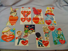 "Valentines Cards Mixed Lot Of 10 Cards #6 All Fold To Around 3.25""x2.5"" 1960's"