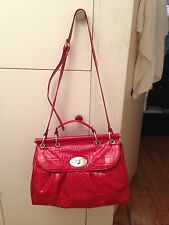 NEW NWT CLAUDIA FIRENZE ITALIAN MADE RED EMBOSSED LEATHER DOCTOR BAG