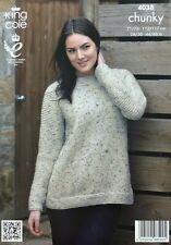 KNITTING PATTERN Ladies Long Sleeve EASY KNIT Jumper Chunky King Cole 4038