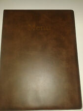 A4 MENU COVER/FOLDER IN BROWN LEATHER LOOK PVC