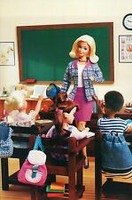 """ Sitting in Class "" Fashion Collectible Photo Card Mattel Barbie Doll Postcard"