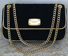 NWT Michael Kors Jet set quilted black Leather flap Chain Tote Purse Bag $248