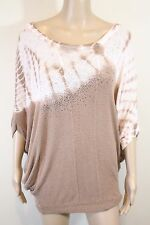 T-Party Over-sized Batwing Tunic Top M White Brown Tie Dye Batwing Embellished