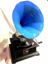 ANTIQUE GRAMOPHONE PHONOGRAPH TURQUOISE COLOR STEEL HORN HIS MASTER'S VOICE LOGO