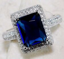 5CT Blue Sapphire & White Topaz 925 Solid  Sterling Silver Ring Sz 6