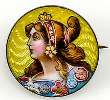Continental .900 Silver & Enamel Brooch, c.1920 Art Nouveau Hand Painted Woman