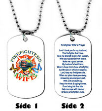 DOG TAG NECKLACE - Fireman Firefighter Wife's Prayer Fire Hero Rescue Jesus God
