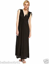 M&S Autograph Twist Front Black Maxi Dress Size 18 Bnwt-Rrp £35