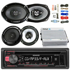 """Kenwood KDC118 CD AUX Radio, 6x9"""" and 6.5"""" Speakers, 400W Bluetooth Amp and Kit"""