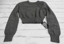 Geek Chic: Carven Grey Wool Elbow Patch Padded Shoulder Cropped Jumper NWT Sz S