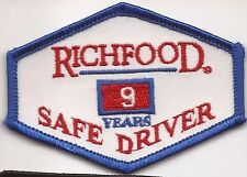 Richfood Truck driver patch 9 yrs Richmond, VA food distributor.2-3/8 X 3-1/4