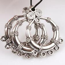 25pcs Hotsale Vintage Silver Tone Circle Dots Charms Alloy Connector Pendants L