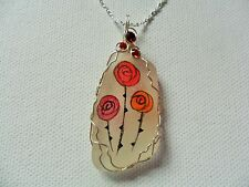 "Rennie Mackintosh style red roses hand painted sea glass necklace - 18"" chain"