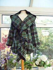 NEW *JOLIE MOI* QUIRKY GREY/GREEN CHECK HITCHED FRILL FRONT HOODED COAT Sz 10