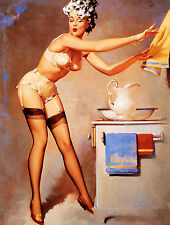 VINTAGE Stile Retrò Gil Elvgren PIN UP GIRL SEXY METAL SIGN TIN MURO PORTA TARGA