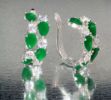 14k White Gold GF Huggie Earrings made w/ Swarovski Emerald Green & Clear Stone