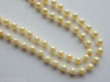 "Long 48"" (120cm)Faux Cream Pearl Bead Rope String Necklace   Wedding Bridal"