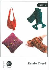 DY Choice Rumba Tweed Knitting Pattern DYP101 Bag Scarf Wrist Warmer #14D145