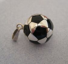 Mexican 925 Silver Taxco BLACK Football SOCCER BALL Pendant Unisex Sport Mom New