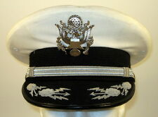 USAF US Air Force Male Field Officer White Mess Dress Hat Cap Bullion 7  56